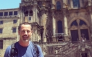 Andrew Forbes Arrives At The Cathedral In Santiago De Compostela