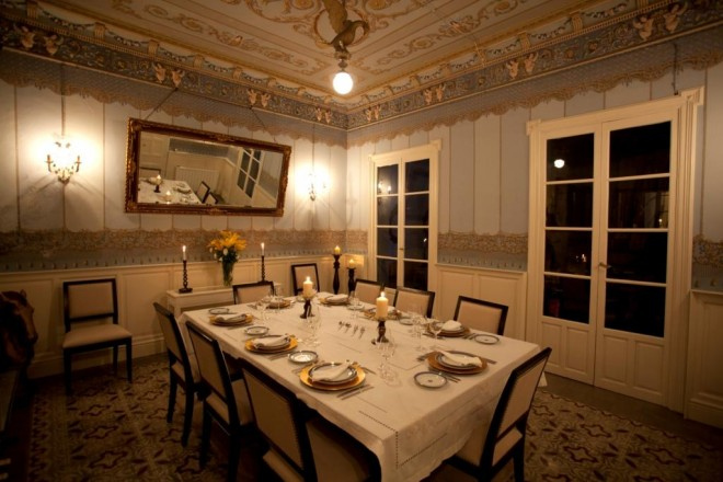 Formal Dining Room with frescoes La Casa Noble
