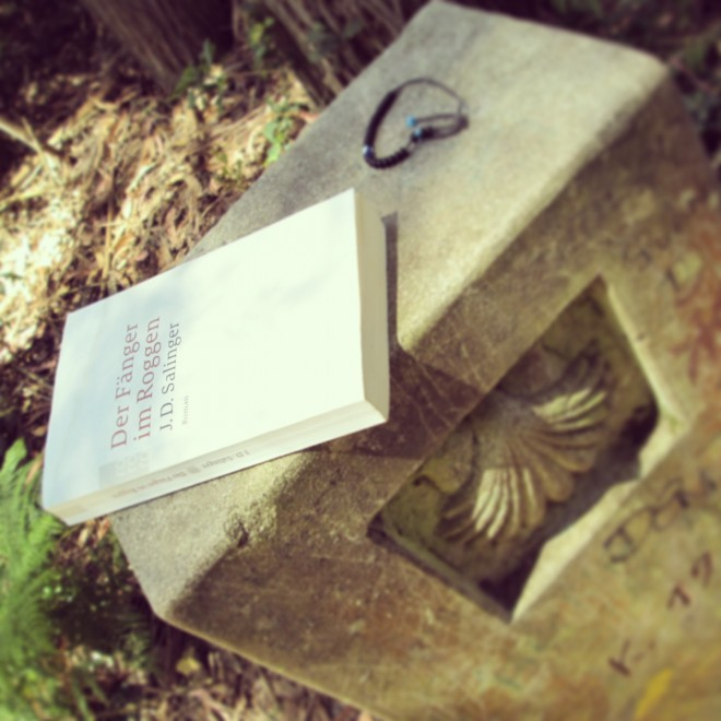 Copy of Catcher in the Rye in German, discarded on a camino marker
