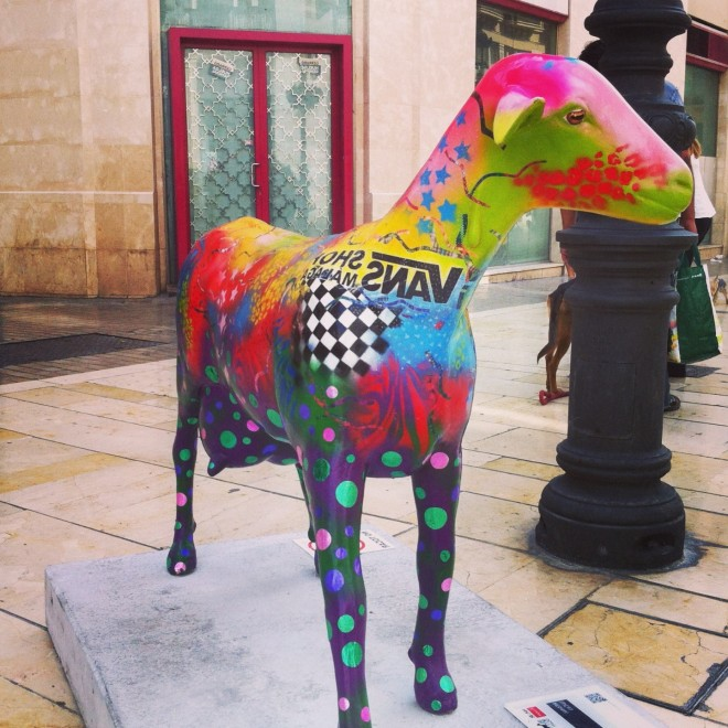 Oh MY Goat painted colourful goat Calle Larios