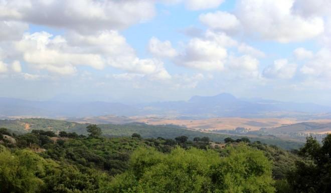 The rolling countryside from Castella de la Frontera