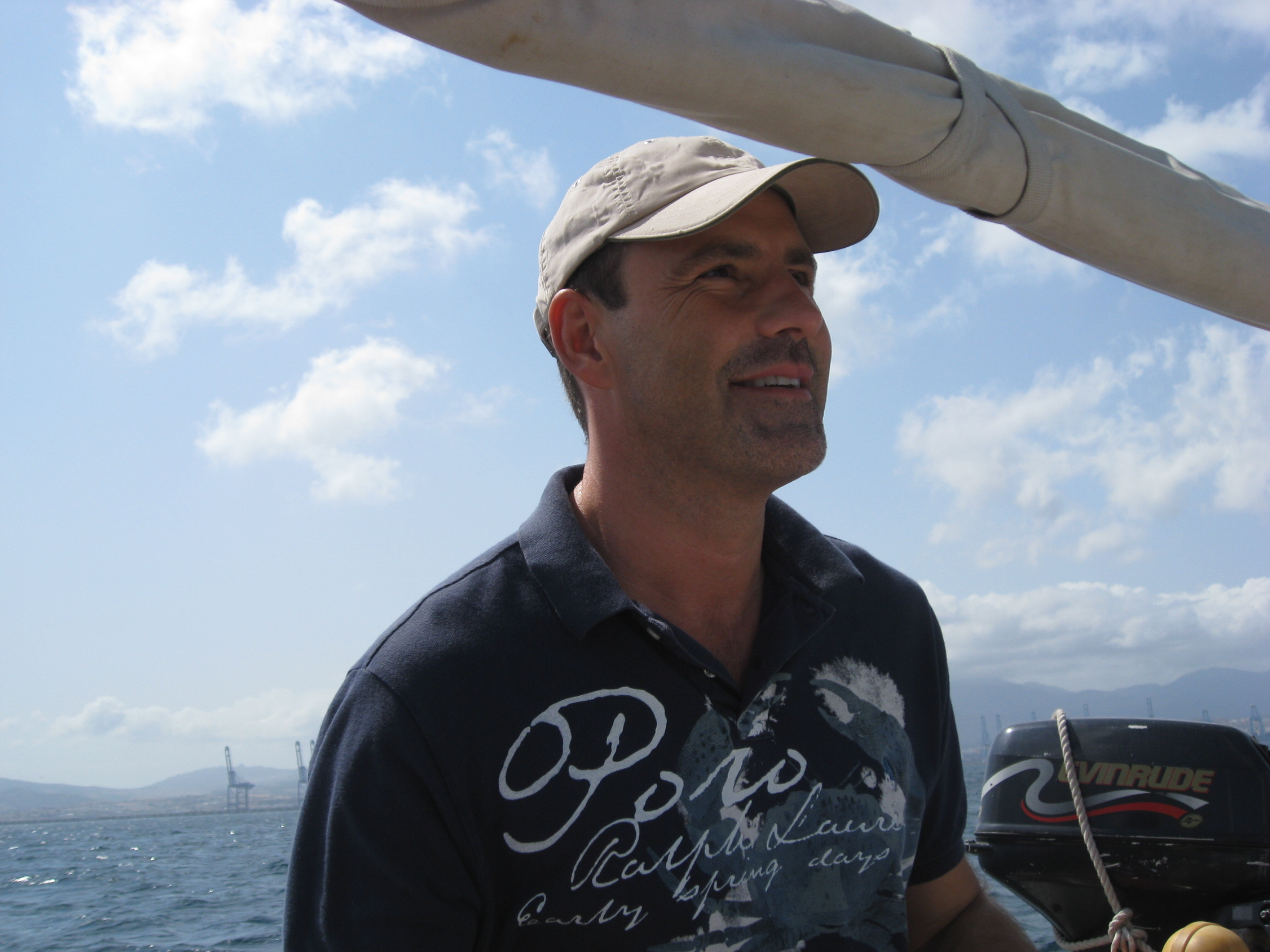 Andrew Forbes enjoying taking the wheel on a www.tomboysailing.com experience