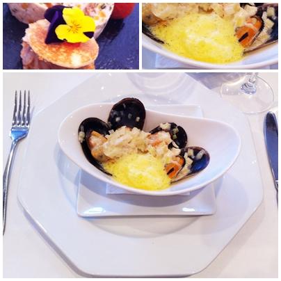 Mejillones en salsa crema de puerro y vino blanco Mussels in leak sauce Fundación Escuela Hispanó Árabe de la Dieta Mediterránea, Benahavis Hospitality School