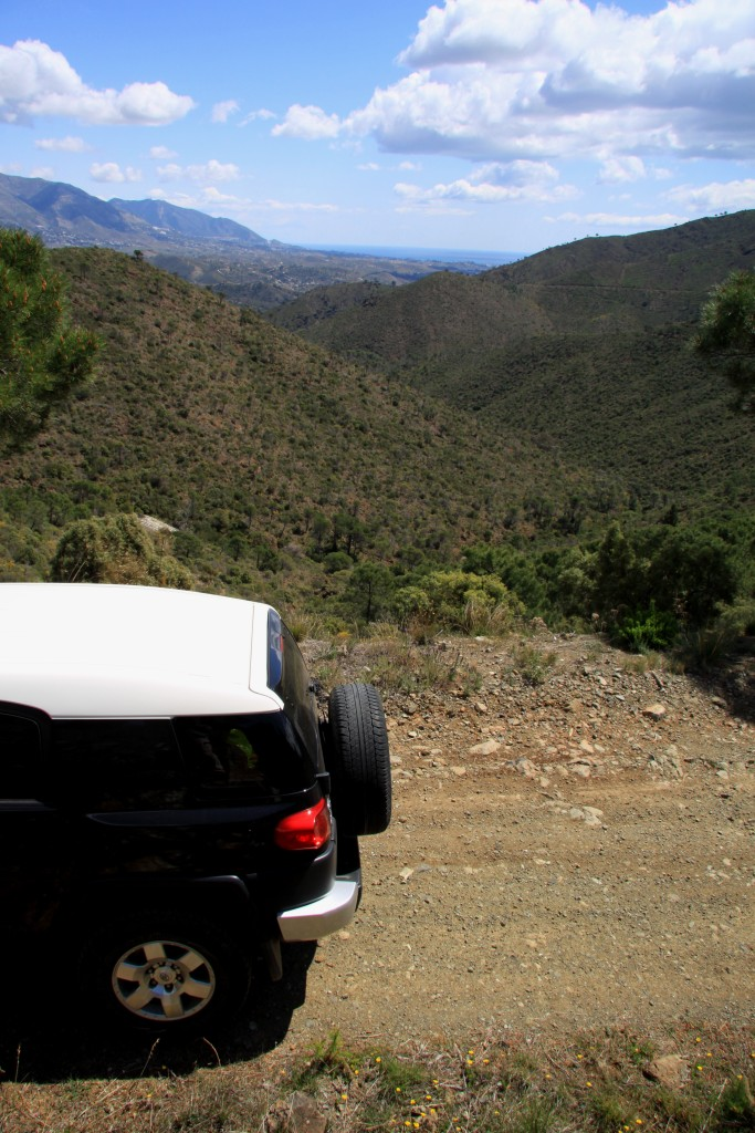 Andrew Forbes exploring La Mairena trail to Entrerios in Toyota FJ Crusier, Malaga Province, Andalucia, Spain