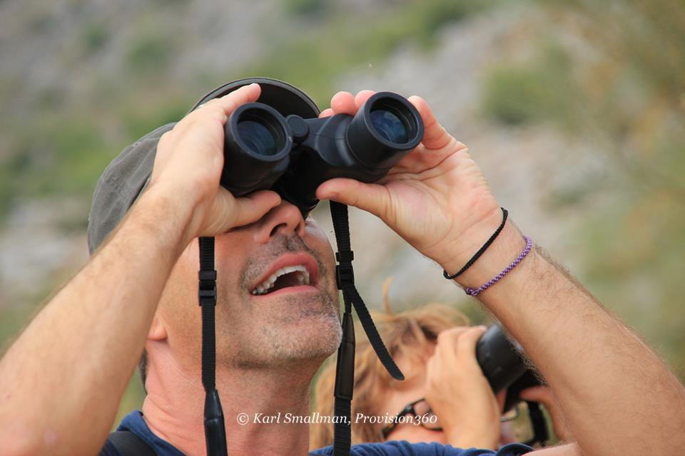 Andrew Forbes & Eva Monika Bratek viewing birds of prey near Montejaque