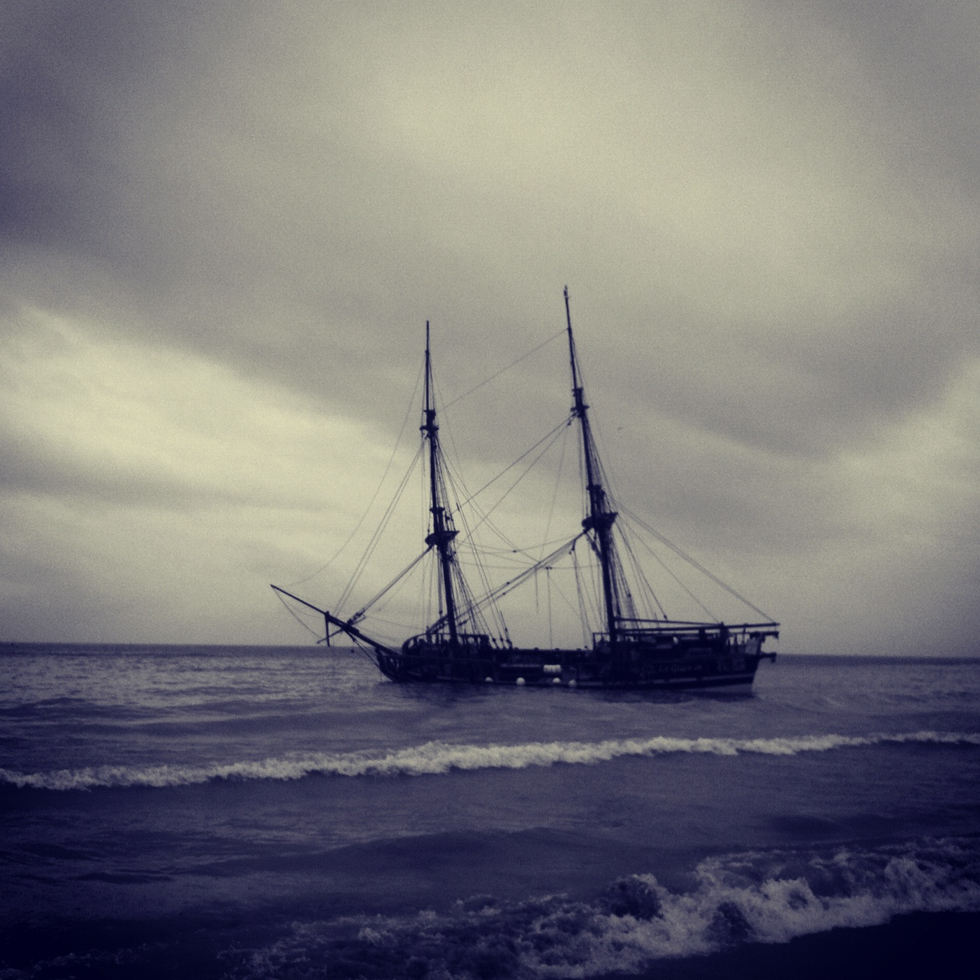 La Grace Replica Brig, Grounded off Marbella Andrew Forbes