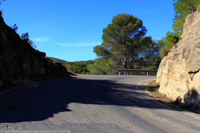 narrow road running through el chorro